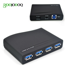 GOOJODOQ High Speed 4 Ports USB 3.0 Hub Portable Splitter New for PC Laptop Black No driver needed(China)