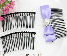 20pcs Metal blank hair comb fascinator supply 3 inch long black - DIY millinery, bridal birdcage veil supply, hair