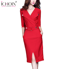 ICHOIX Elegant Office Lady Pencil Dress 2017 Autumn Red Black Knee Length Dresses Women Work Wear Winter High Quality Vestidos