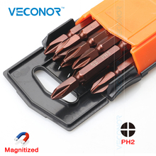 Veconor 10pc 65mm magnetic Double End PH2 Philips head screwdriver bit Set S2 Steel(China)