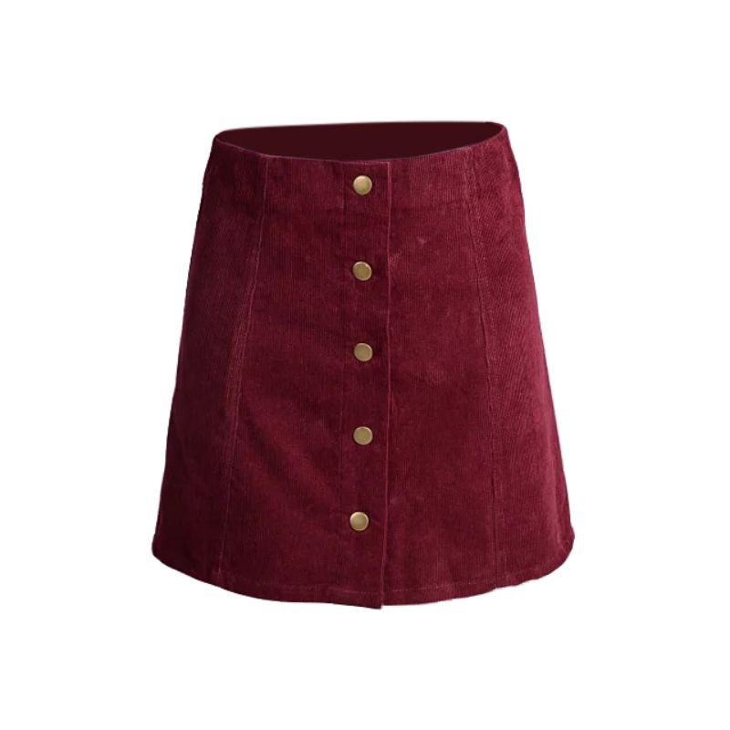 2017 Fashion Woman Skater Hight Waist Vintage Corduroy 5 Buttons Front A-Line Female Short Skirt XS S M L(China)
