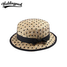 Bow Women Sun Hats Summer Polka Dot Women Straw Hat 2017 Pink Flat Beach Hat For Girls Black Panama Mother Daughter Parent Caps(China)
