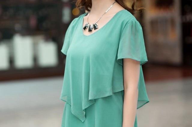 Vestido De Festa Summer Dresses 5XL Plus Size Women Clothing ropa mujer 18 Chiffon Dress Party Short Sleeve Casual Blue Black 22