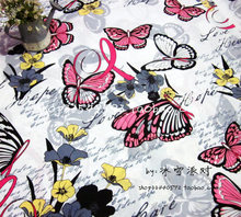 140X100cm Colorful Butterflies Flowers White Cotton Fabric for Girl Clothes Curtain Table Cloth Quilting Hometextile DIY-AFCK739(China)