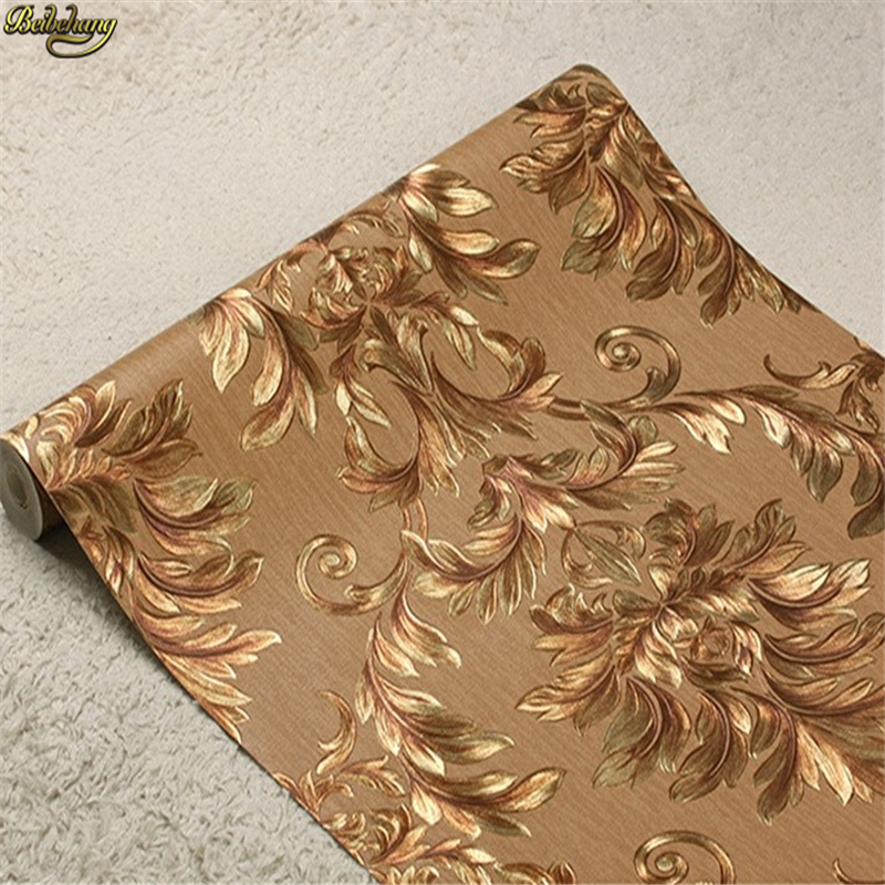 beibehang Golden home wallpaper 3Dwall paper Damascus gold foil wallpaper European TV backdrop papel de parede<br>