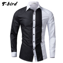 T-bird Men Shirt Long Sleeve 2017 Brand Shirts Men Casual Male Slim Fit Fashion Spell Chemise Mens Camisas Dress Shirts Hawaiian