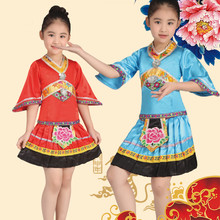 Children Tibetan Dance Costume Girl Miao Dance Clothing for Stage Kids Hmong Dance Clothing Chinese Ethnic Costumes With Hat 89