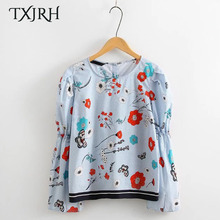 TXJRH Cute Floral Pattern Blouse Sweet Puff Sleeve O-Neck Pullover Shirt Loose Lolita Style Back Button Women Tops SY17-02-23(China)