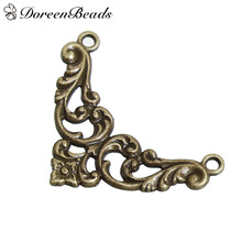 "DoreenBeads 20 PCs Zinc Based Alloy Connectors Findings Triangle Antique Bronze Filigree 38mm(1 4/8"") x 27mm(1 1/8"") Hole: 2mm(China)"