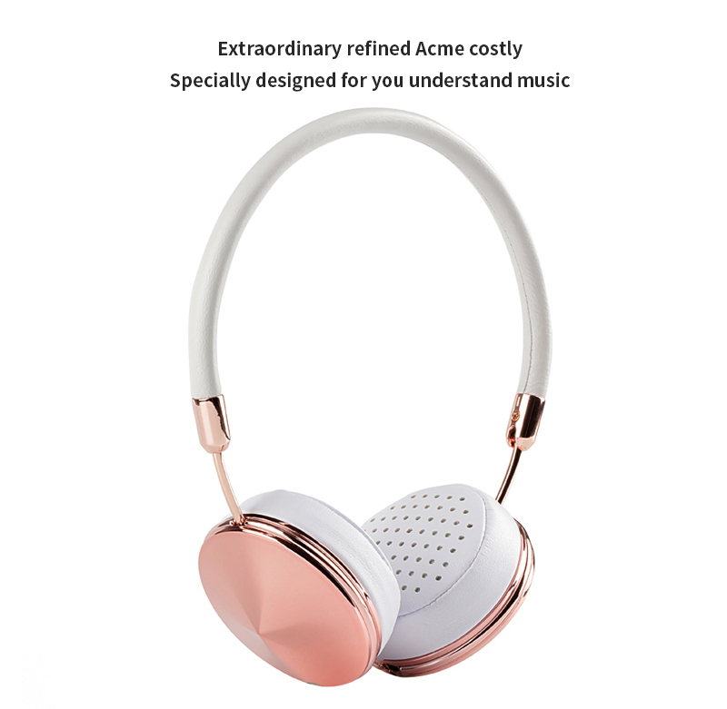Liboer Beautiful Headphones Dynamic Headband Rose Gold Headphones with Mic Wired Headset for Mobile Phone On-ear Headphone 02