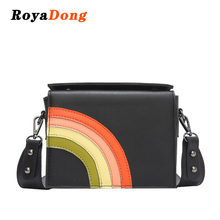 RoyaDong New Brand Color Rainbow Women Messenger Bag Design Female Handbag Lady Crossbody Shoulder Bags Women Flap Fashion Bag(China)