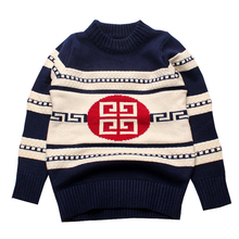 Warm Boys Sweaters Cotton Infant Outfit Print Toddler Top Striped Crochet Sweater Winter Children Clothes Brand Boys Clothing