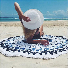 Microfiber Round Beach Towel 150cm Bath Towels Tassel Geometric Print Summer Women Sandy Swimming Plage Sunbath Toalla Playa(China)