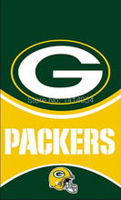 Green Bay Packers LOGO WORDMARK HELMET Flag 150X90CM Banner 100D Polyester3x5 FT flag brass grommets1006, free shipping(China)