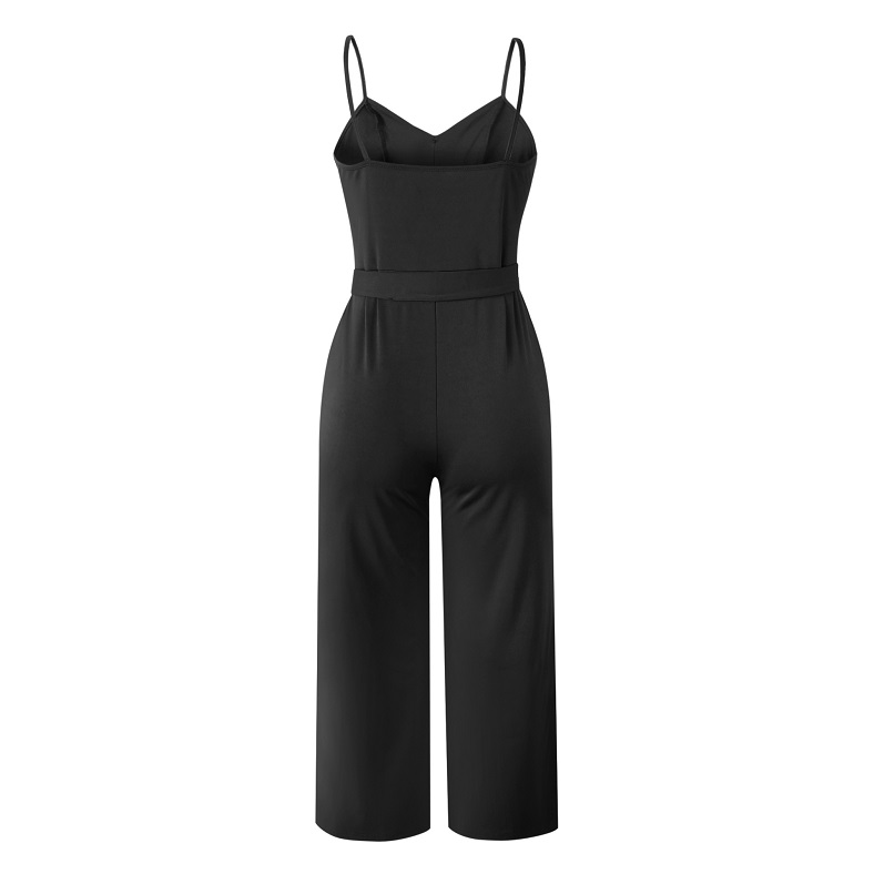 101046 2019 Summer Women Solid Skinny Sexy Jumpsuit Casual Bandage Streewear Spaghetti Strap V-neck Playsuit Overalls for Women Party 5