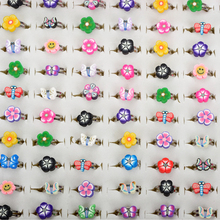 Wholesale 10pcs Mixed Color Flower  butterfly smile  Rings for Children Kids Polymer Clay Finger Ring Hot Sell Christmas Gift