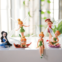 6pcs/Set Christmas Kids Gift Tinkerbell Dolls Flying Flower Fairy Children Animation Cartoon Toys Girls Dolls Baby Toy WJ436(China)