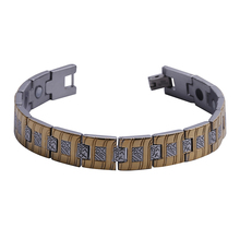 "Mens12MM Titanium Magnetic Therapy Link Bracelet Negative Ion Germanium Power Health Wrist Band 8.5"" Golden Silver Tone(China)"