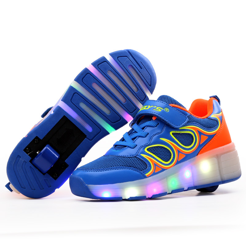 Size  29-42// One Wheel Shoes Basket S Pulley Wheels Shoes Zapatos Automatic Wheel Lights Sports Shoes Kids Sneakers<br>