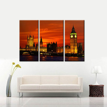 3Panel London City Night Landscape Canvas Print Oil Painting River Thames Modular Wall Pictures UK Arts For Living Room No Frame(China)