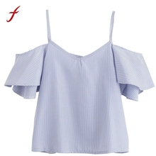 2017 Womens Casual Blouses Shirts Tops Ladies Blue Pinstripe Cute Ruffle Slip Short Sleeve Cold Shoulder Fashion Sexy V Neck Top