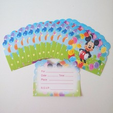 12pcs/set Mickey Mouse Party Supplies Invitation Card Cartoon Theme Party For Boy Kids Birthday Decoration Theme Festival Blue