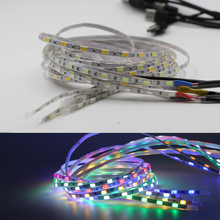 DC5V 1m 5630 SMD LED flexible Strip 5mm Width super bright 60Leds/m IP67 Tube Waterproof tape lamp string Light With USB cable