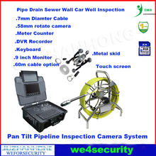 9inch Touch Screen monitor 60meter cable 58mm rotation pan tilt pipe inspection camera system meter counter keyboard DVR