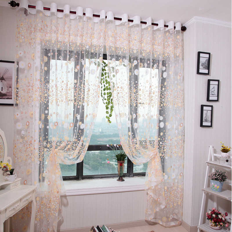 NAPEARL Flower design finished rustic organza tulle fabric sheer curtains home floral green curtains kitchen window
