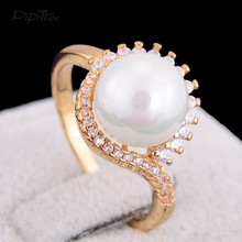 Pipitree Unique Fashion Simulated Pearl Jewelry Rings Crown Gold Color CZ Crystal Female Rings for Women Wedding Party Gift(China)