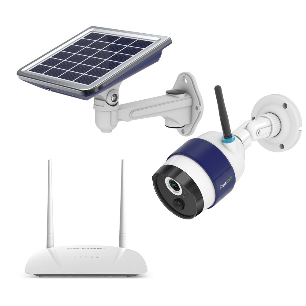 FREECAM Solar IP Camera IP65 Waterproof 6800 Rechargeable BatteryNight Vision Motion Detection Include Signal Enhancement