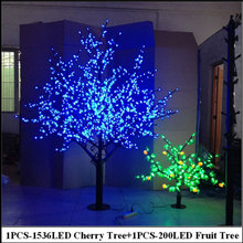 2Meter LED Cherry Tree +0.8Meter 200LEDS Fruit tree indoor christmas holiday decorative blossom tree lights  free shipping Europ