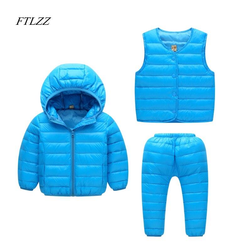 Baby Girls Boys Clothes Sets Winter Children Jacket Down Hooded Coat + Vest + Pants Kids Warm Thick Outdoor Suits 3pcs/set<br>