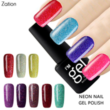 Zation Semi permanent Neon Nail Gel Polish Colorful Lucky Colors UV Gel Varnish Soak Off Colors Lucky 8ml Primer Gel Nail Art