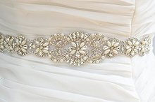 All Around Beading Bridal Belt Wedding Crystal Sash  Dress Jeweled Belt Rhinestone Sash-light ivory