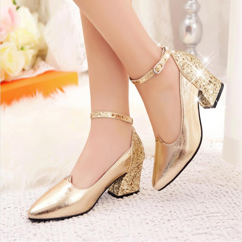 Women small 33 big 42 size  red gold high heels shoes  bridesmaid wedding shoes shallow mouth thick  heel sexy pointed toe shoes<br><br>Aliexpress