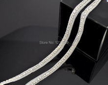 10 Yards Sew on Iron on Single Line Beaded Hot sale Crystal Rhinestone Trim Chain