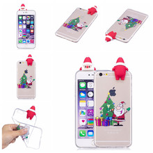 2017 Christmas Santa Claus Dolls Case For Apple iPhone 6 6S,Clear Soft TPU Silicone Cover For iPhone 6 6S Phone Fitted Case(China)