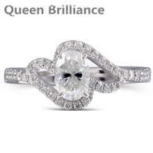Queen Brilliance Center Stones 1 Carat Lab Created Moissanite Diamond Engagement Wedding Ring For Women Soild in 14K White gold(China)