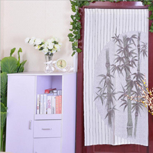 Classic Coffee Valance 85x170cm Polyester Bamboo Pattern Knitted Door Curtains for Bedroom Bathroom Home Textile High Quality(China)