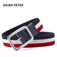Fashion The Newest Luxury Gentleman Belt Without Holes Men's Elastic Reversible Belt With Mixed Color Stretch Woven Canvas Belt(China)