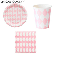 Paper Plates Cups Napkins Bags Diamond Style Paper Tablecloth Pink Party Tableware Party Wedding Decor Party Supplies