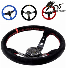 Stormcar 14inch 350mm OMP Deep Corn Drifting Steering Wheel / Suede Leather Steering wheels(China)