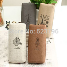 1pcs Retro and classic design practical tool Canvas Paris Pencil Pen Case pencil bag Makeup Coin Pouch Zipper Bag 4 patterns(China)