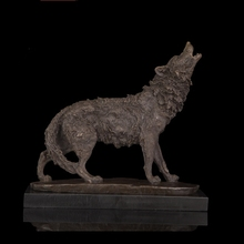 Western Styles antiques 100% High Quality Animals sculpture Howling Wolf Bronze Statue signed by C.Russell(China)