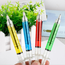 4PCS Syringe Ball Pen Liquid Novelty Syringe Ballpoint Pen Stationery Ballpen Office Supplies(China)