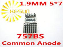 FREE SHIPPING 10PCS x 1.9MM 5X7 Red Common Anode LED Dot Matrix Digital Tube Module 757BS LED Display Module