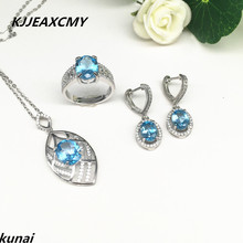 KJJEAXCMY Fine jewelry, Multicolored jewelry 925 silver inlay natural blue topaz set simple wholesale female