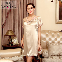 2017 New Product Spring V Lead woman Imitate Real Silk Sexy Short Sleeve Night Skirt women nightdress SQ125(China)