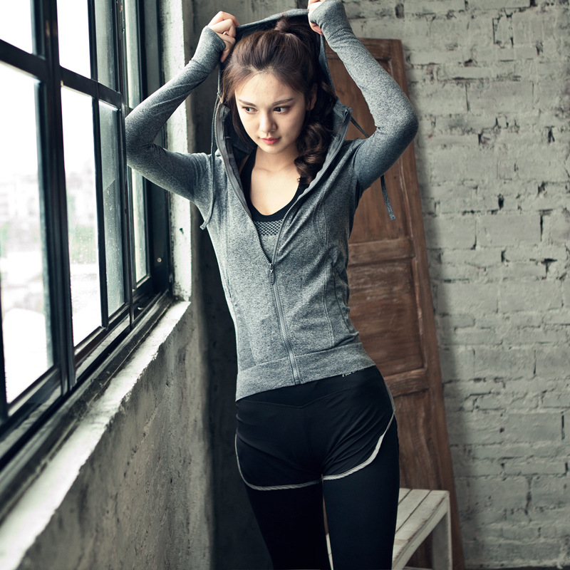 Professional Womens Tight Yoga Sport Sets Elastic Bra 3 Piece Sportswears Fitness Hooded Coat Gym Workout Sporting Leggings151<br><br>Aliexpress